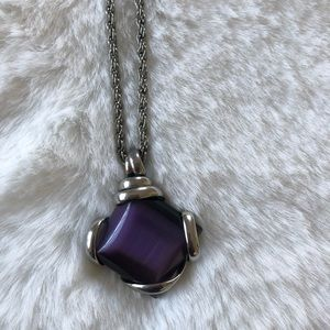 JS Silver Tone Purple Pendant Necklace.